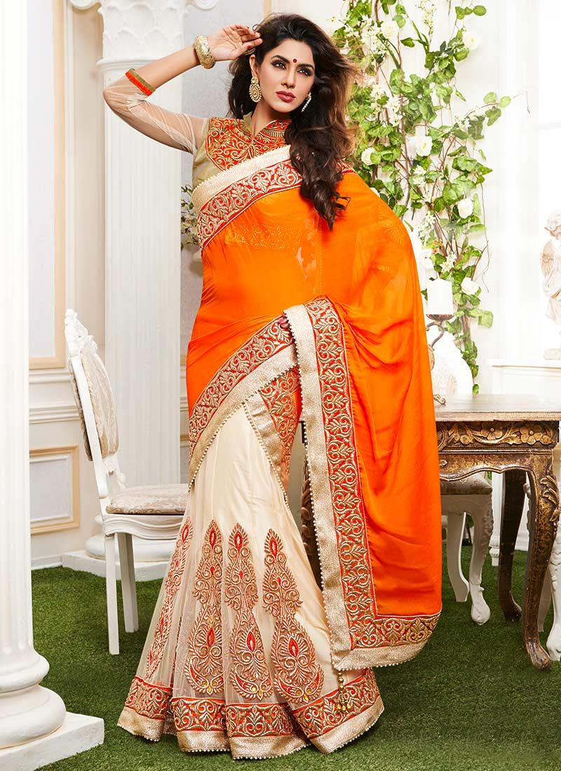 Orange Chiffon Half And Half Saree