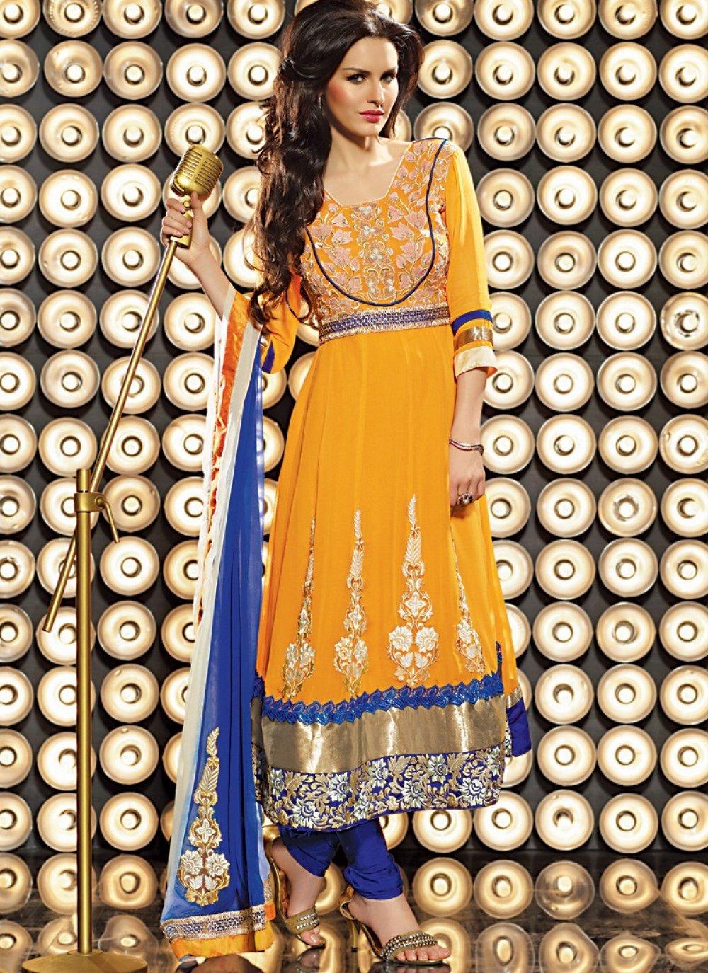 Orange & Royal Blue Anarkali