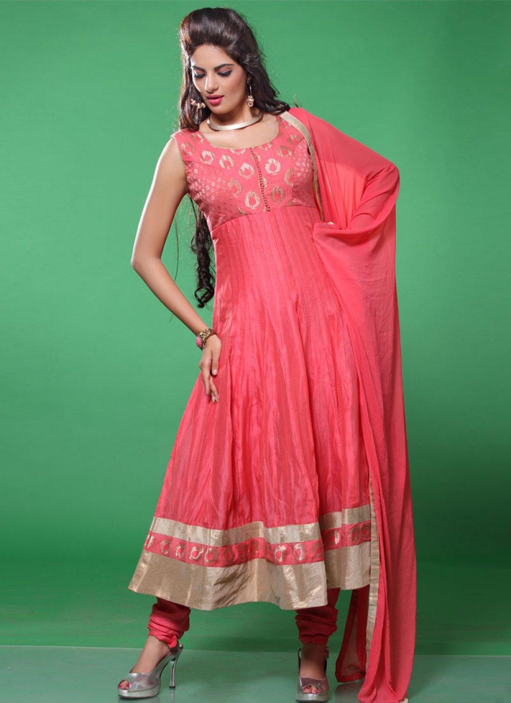 Pink Embroidered Work Net Anarkali Suit