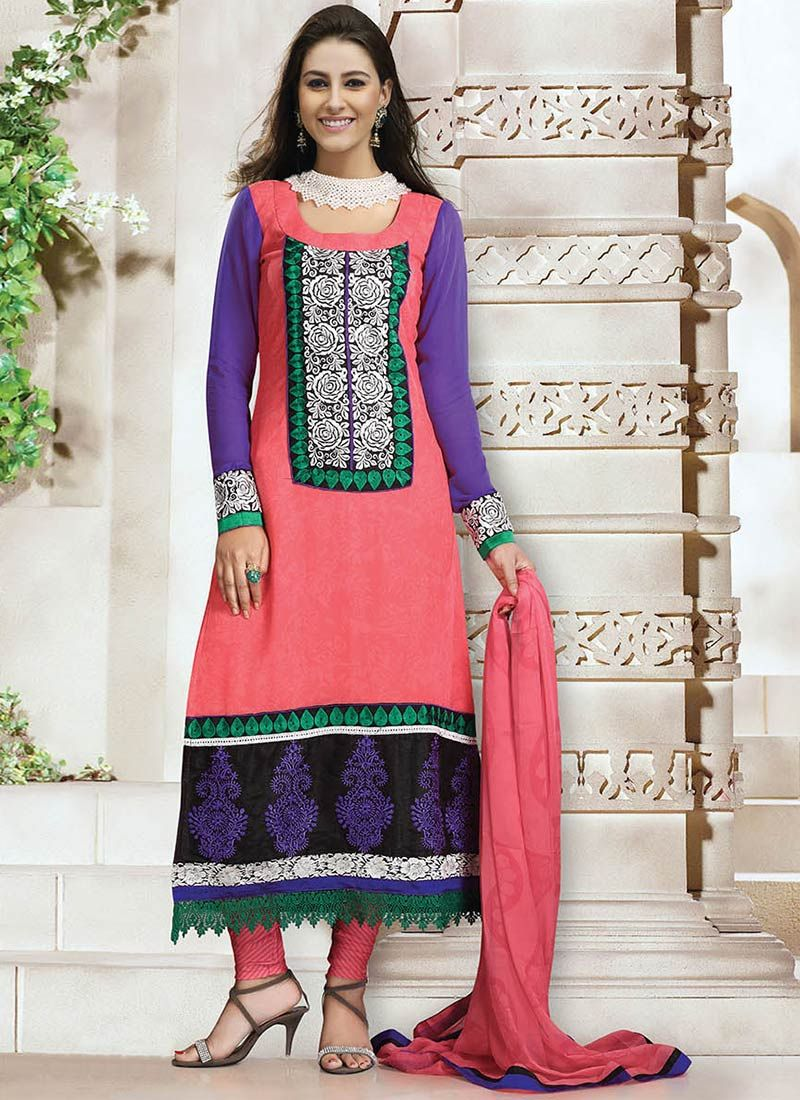 Pink Faux Georgette Churidar Suit