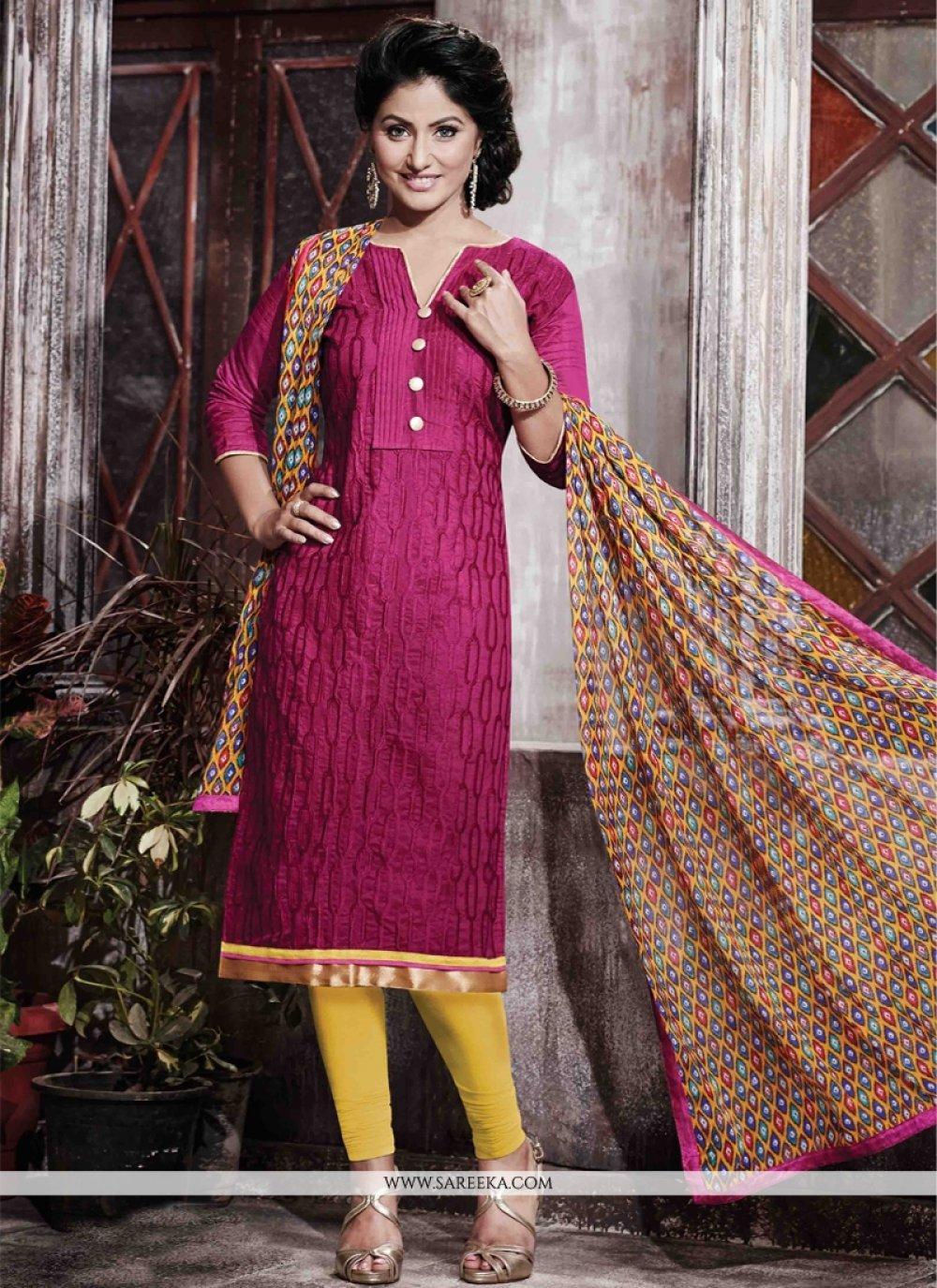 Print Work Hot Pink Designer Straight Salwar Kameez