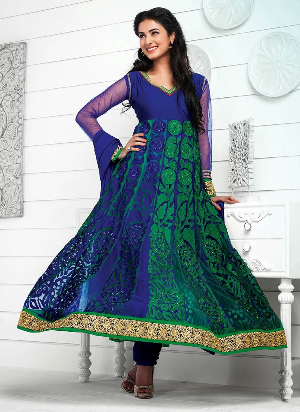 Pure Georgette Blue And Green Anarkali Suit