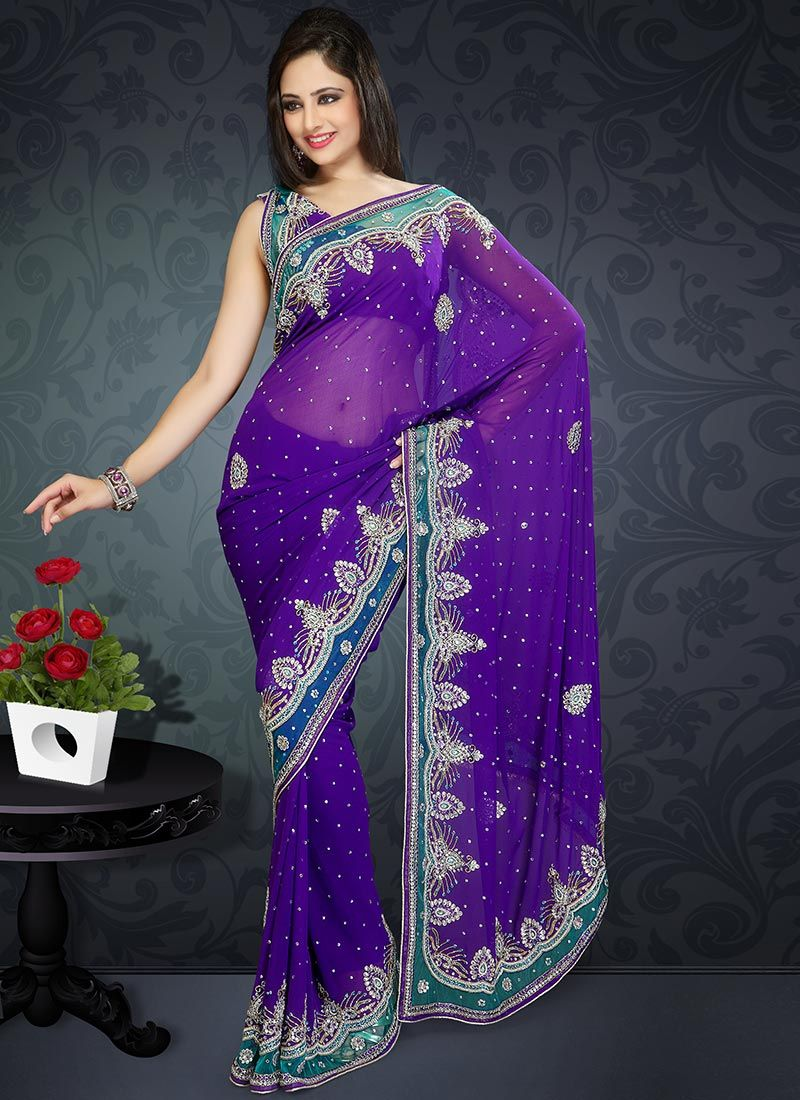 Purple Faux Georgette Saree