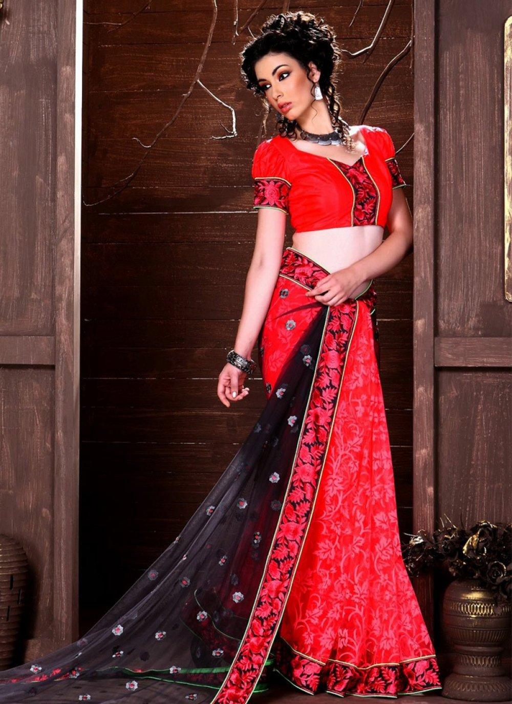 Red And Black Resham Work Half And Half Saree