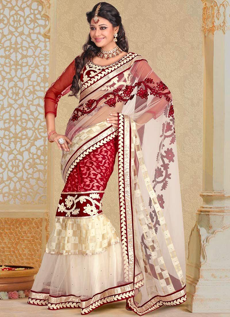 Red And White Net Lehenga Saree