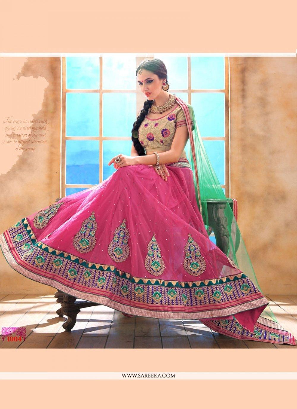 Zari Work Hot Pink A Line Lehenga Choli