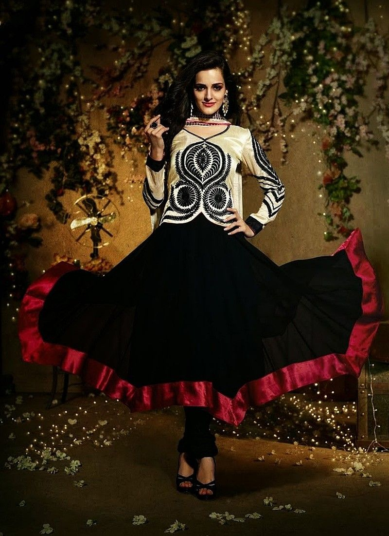Black And Cream Pure Georgette Anarkali Suit