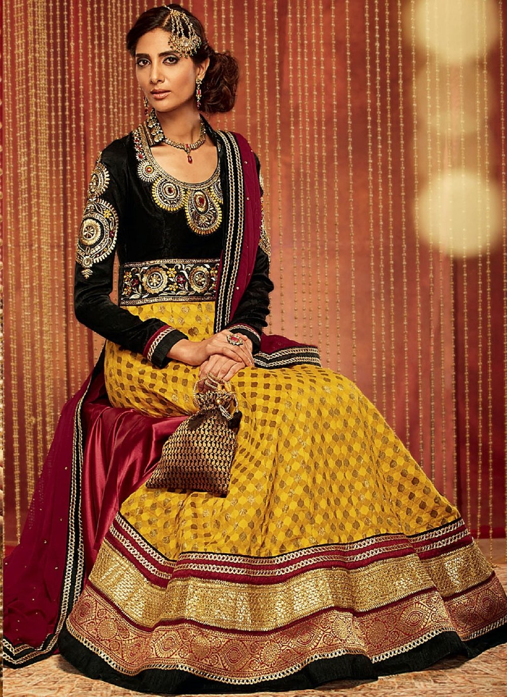 Black And Mustard Embroidery Work Georgette Anarkali Suit