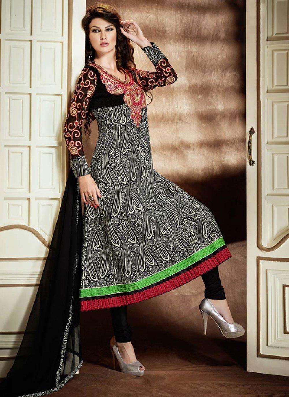 Black Resham Printed Cotton Churidar Suit