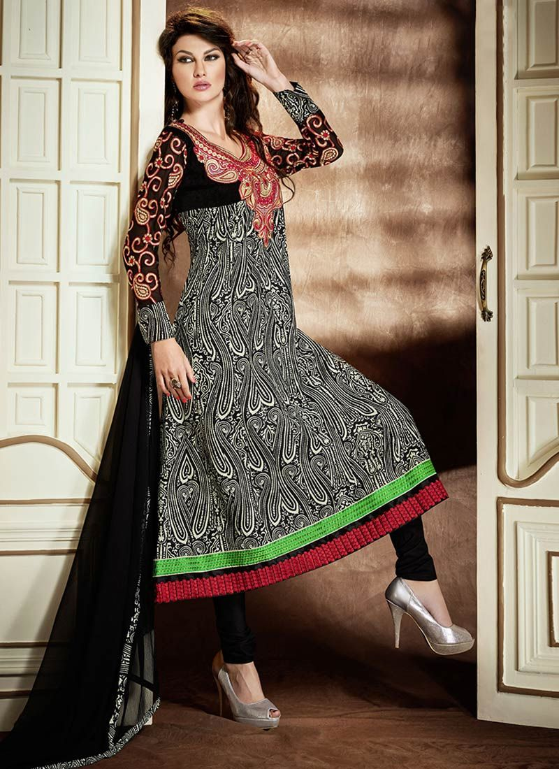 Black Resham Printed Cotton Churidar Suit
