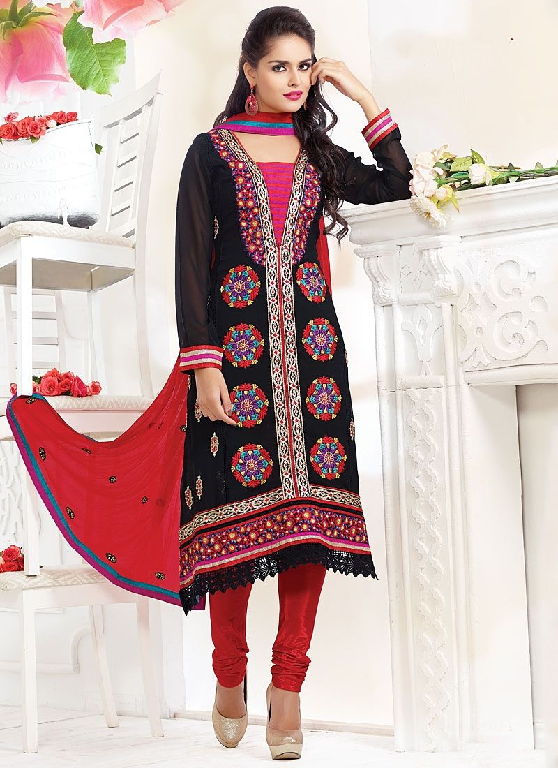 Black Viscose Churidar Salwar Suit