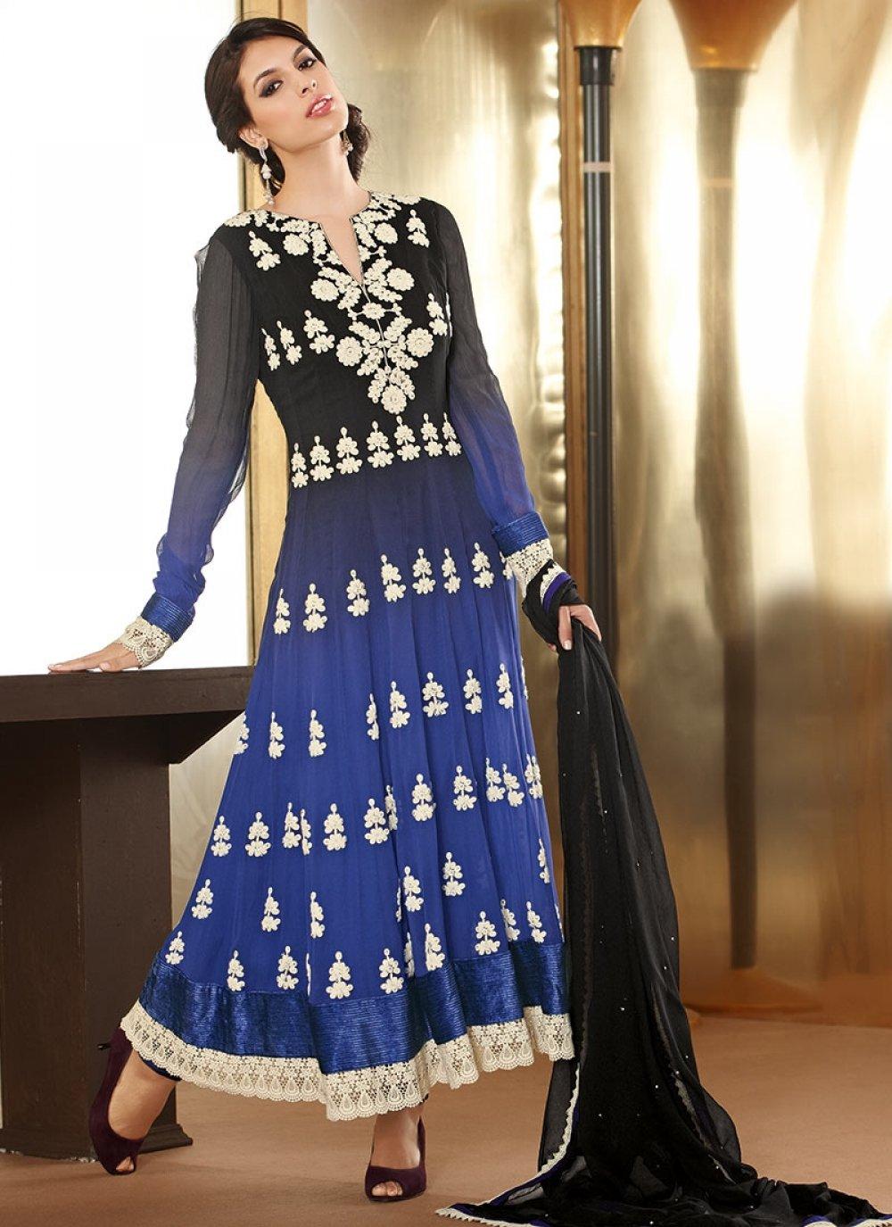 Blue And Black Faux Georgette Designer Anarkali Suit