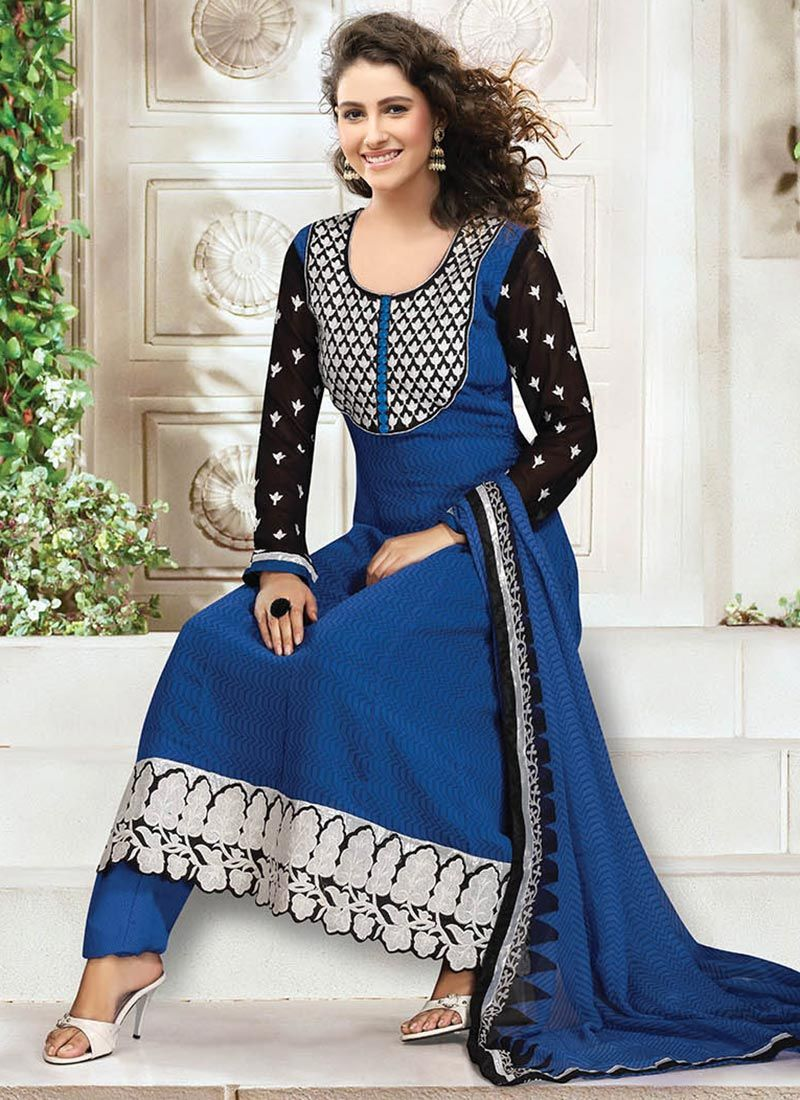 Blue Faux Georgette Punjabi Suit