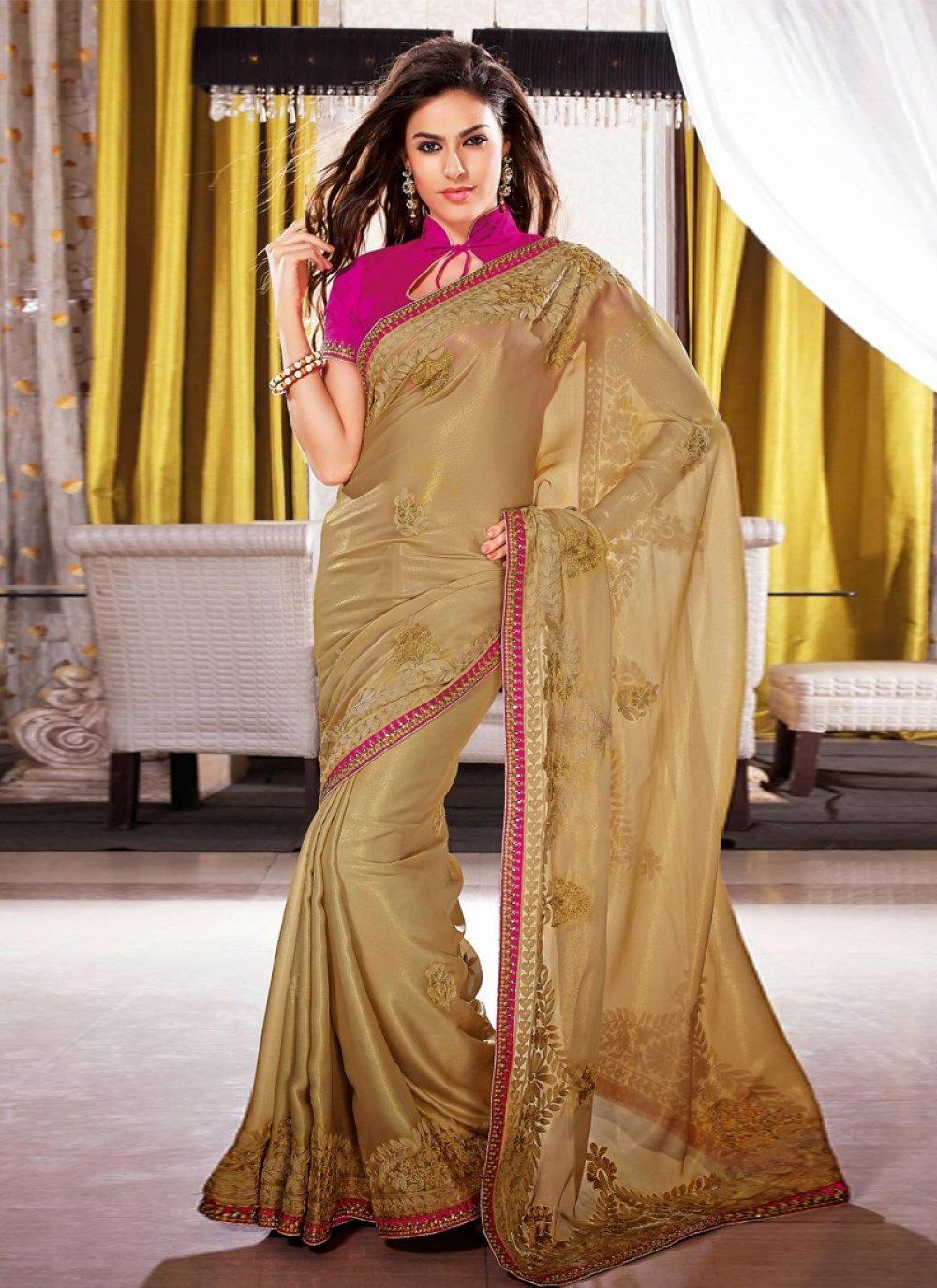Brown Resham Satin Party Wear Saree