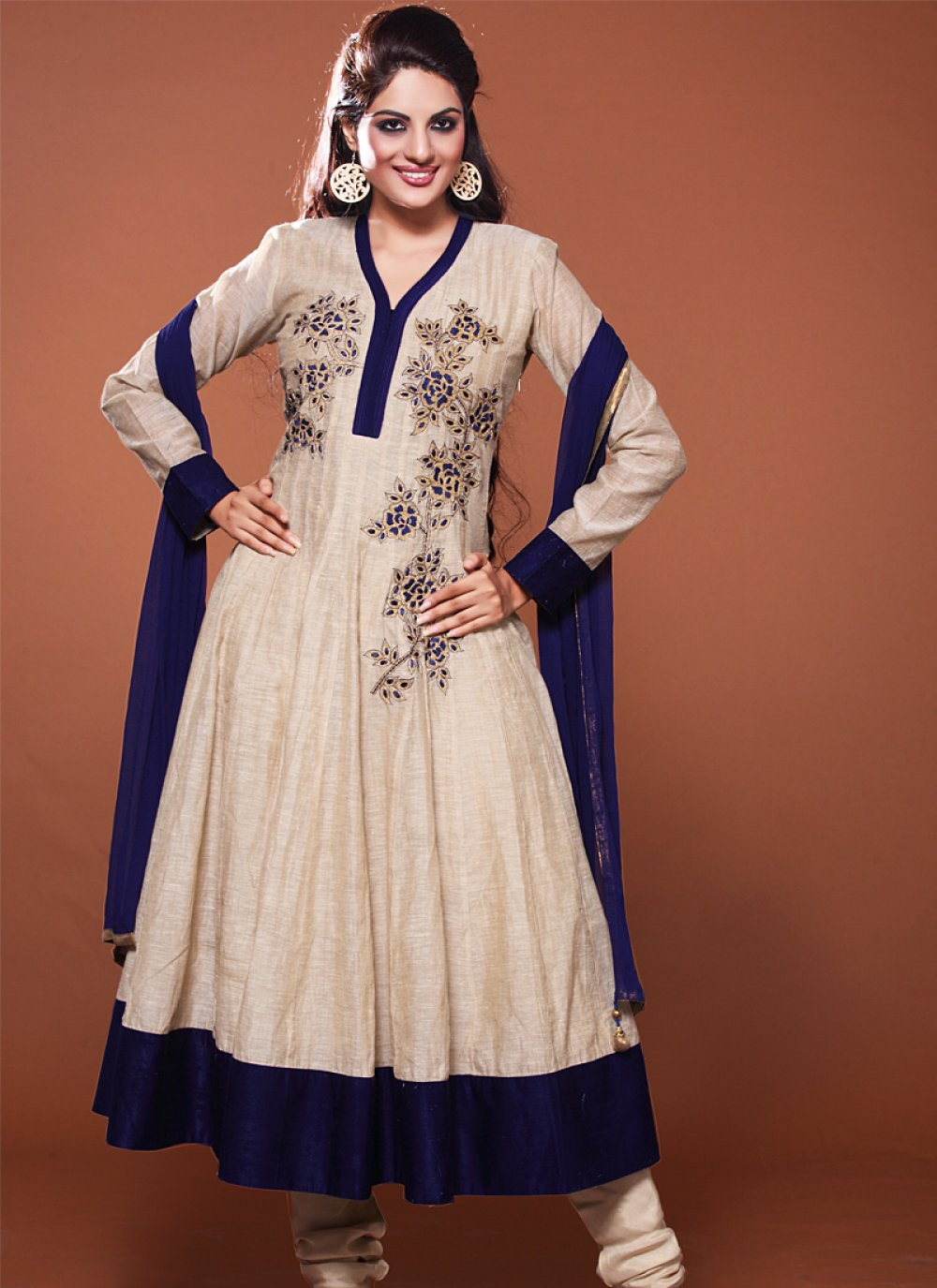 Cream And Blue Resham Work Anarkali Suit