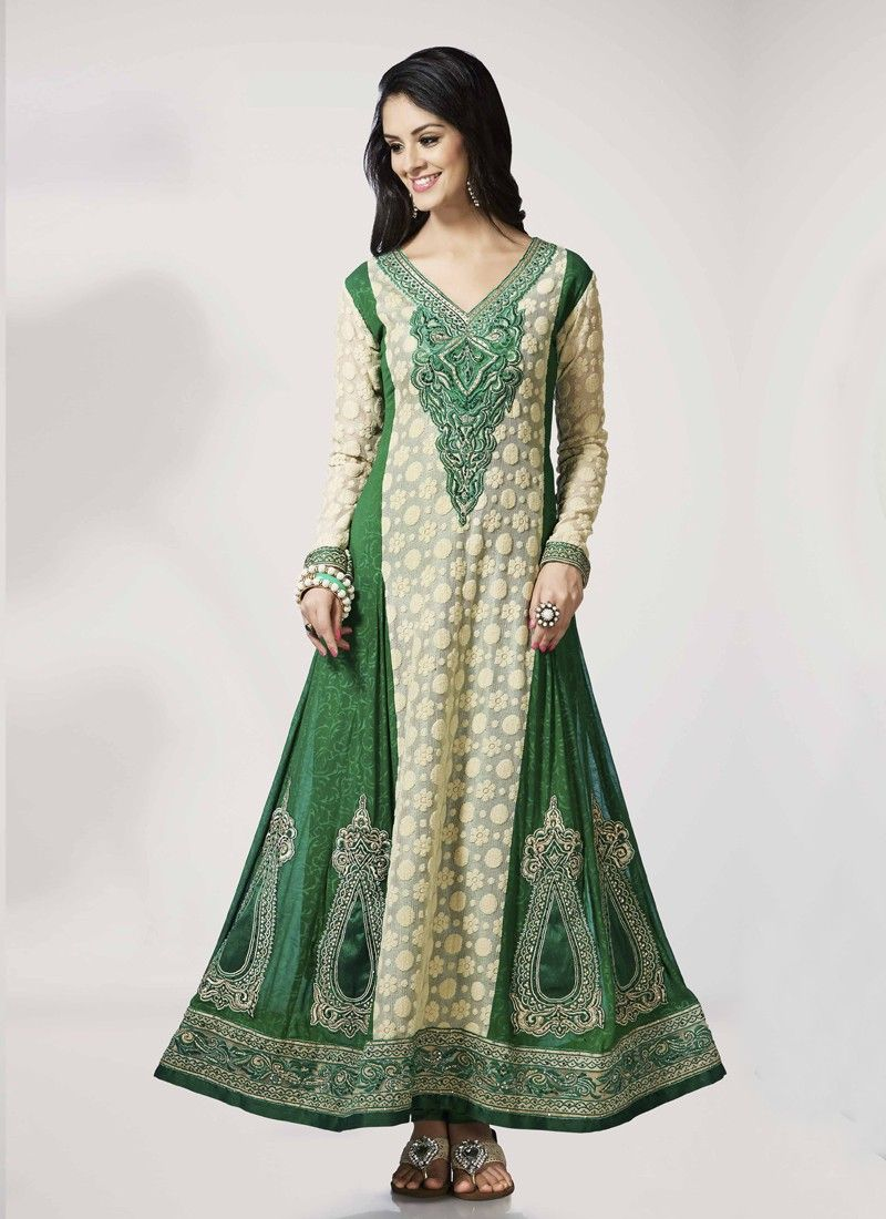 Cream And Green Embroidery Work Anarkali Suit
