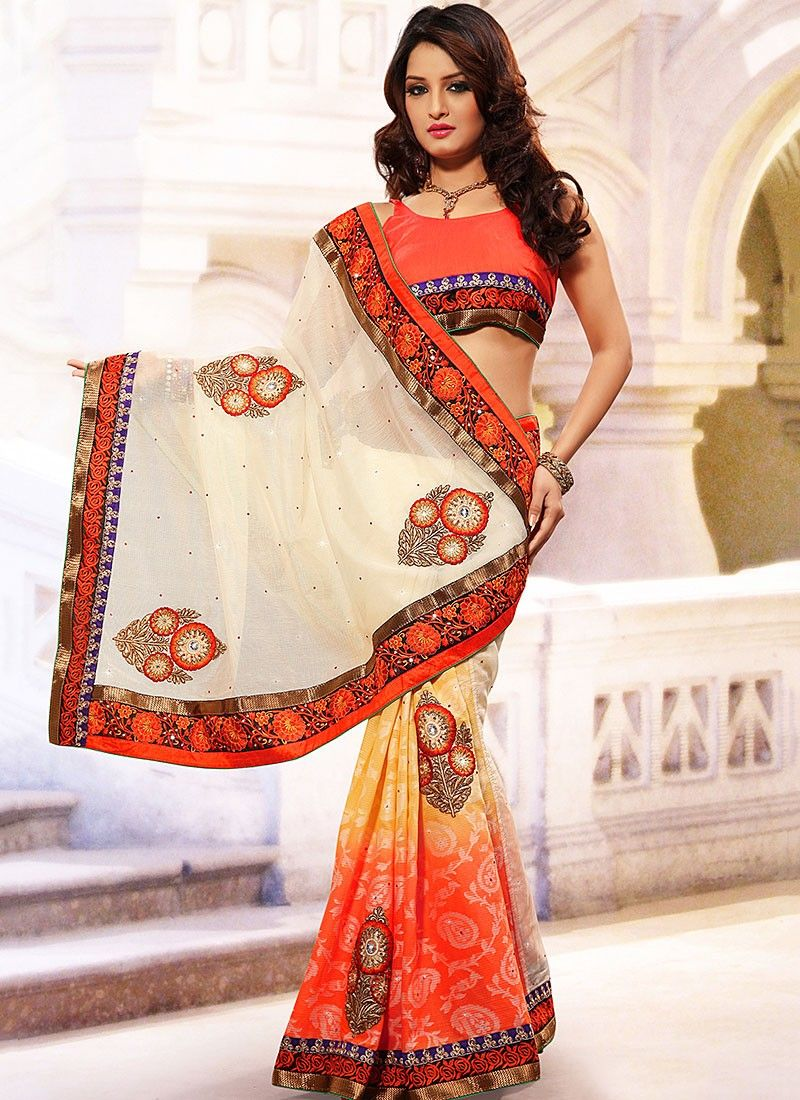Cream And Orange Half And Half Saree