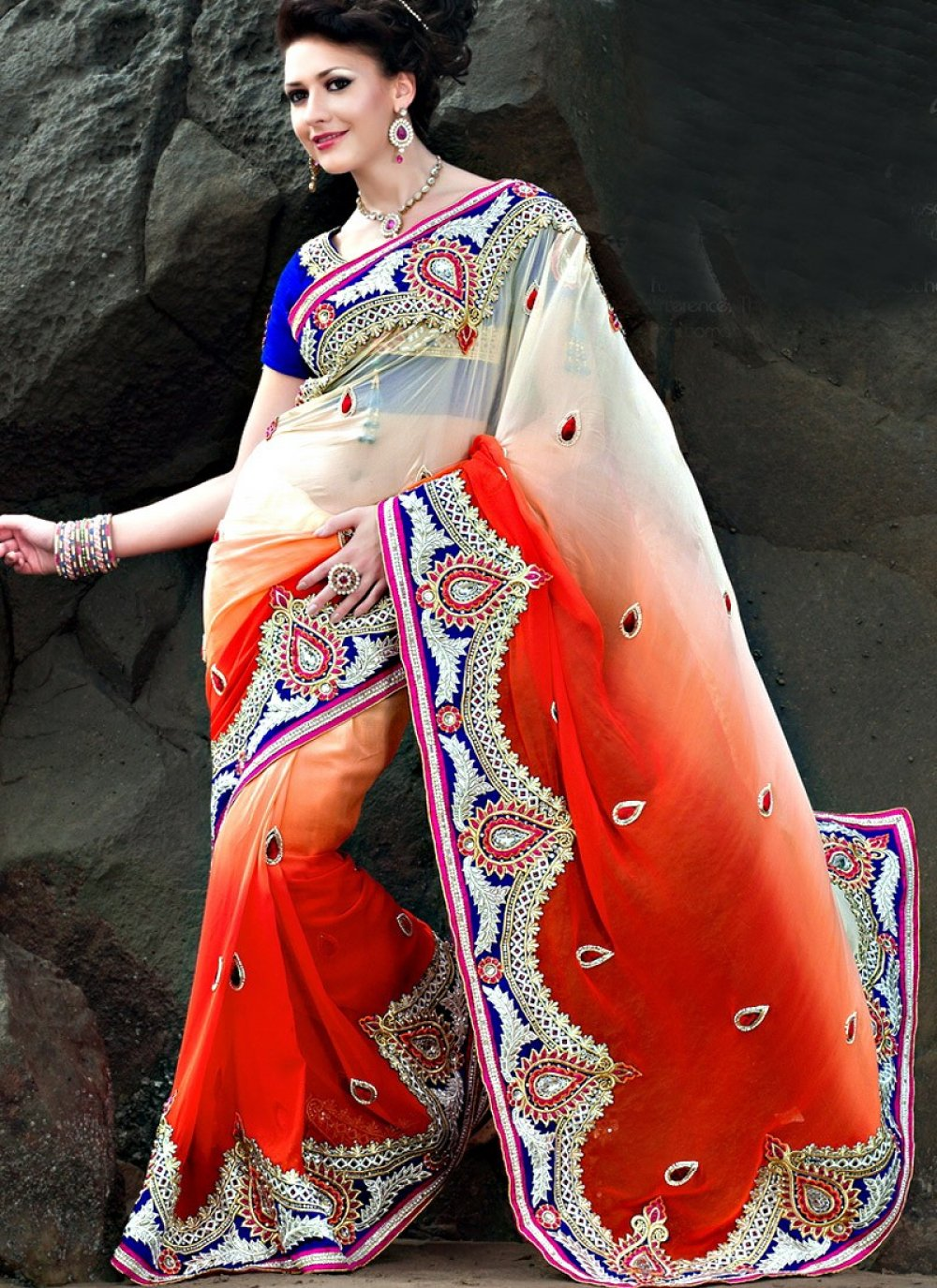 Cream And Red Faux Georgette Casual Saree