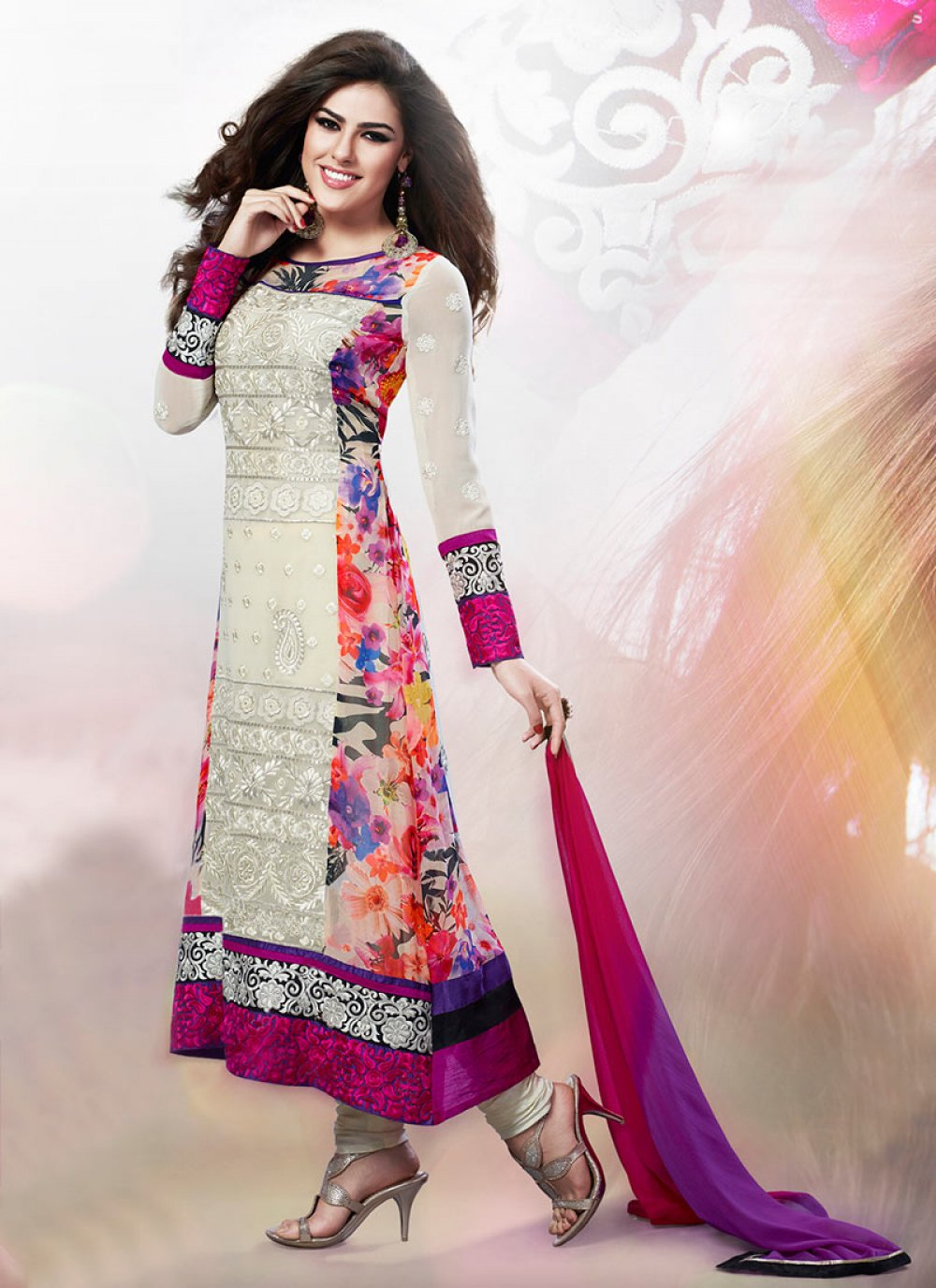 Cream Embroidered Faux Georgette Churidar Suit