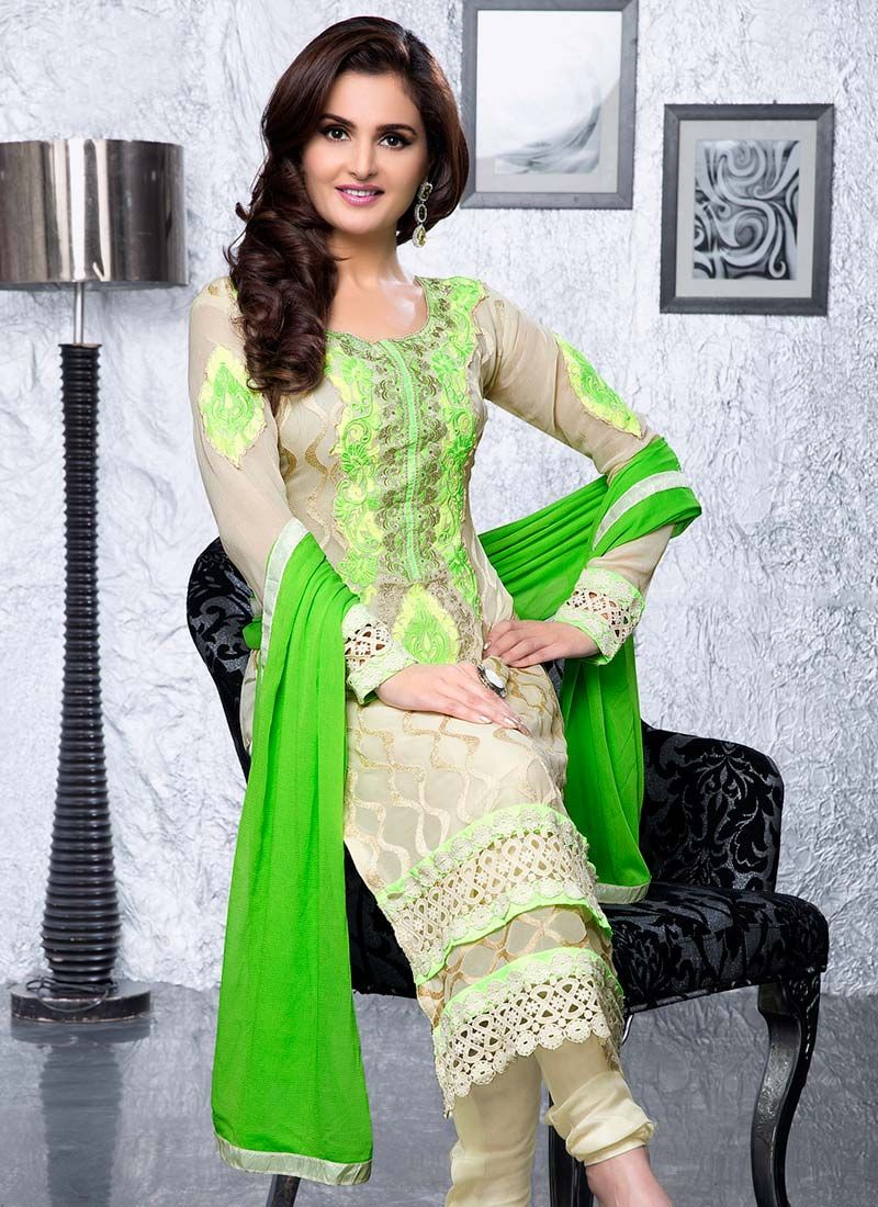 Cream Embroidered Georgette Churidar Suit