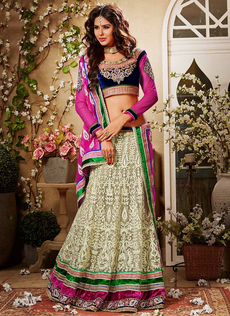 Cream Embroidered Net Lehenga Choli