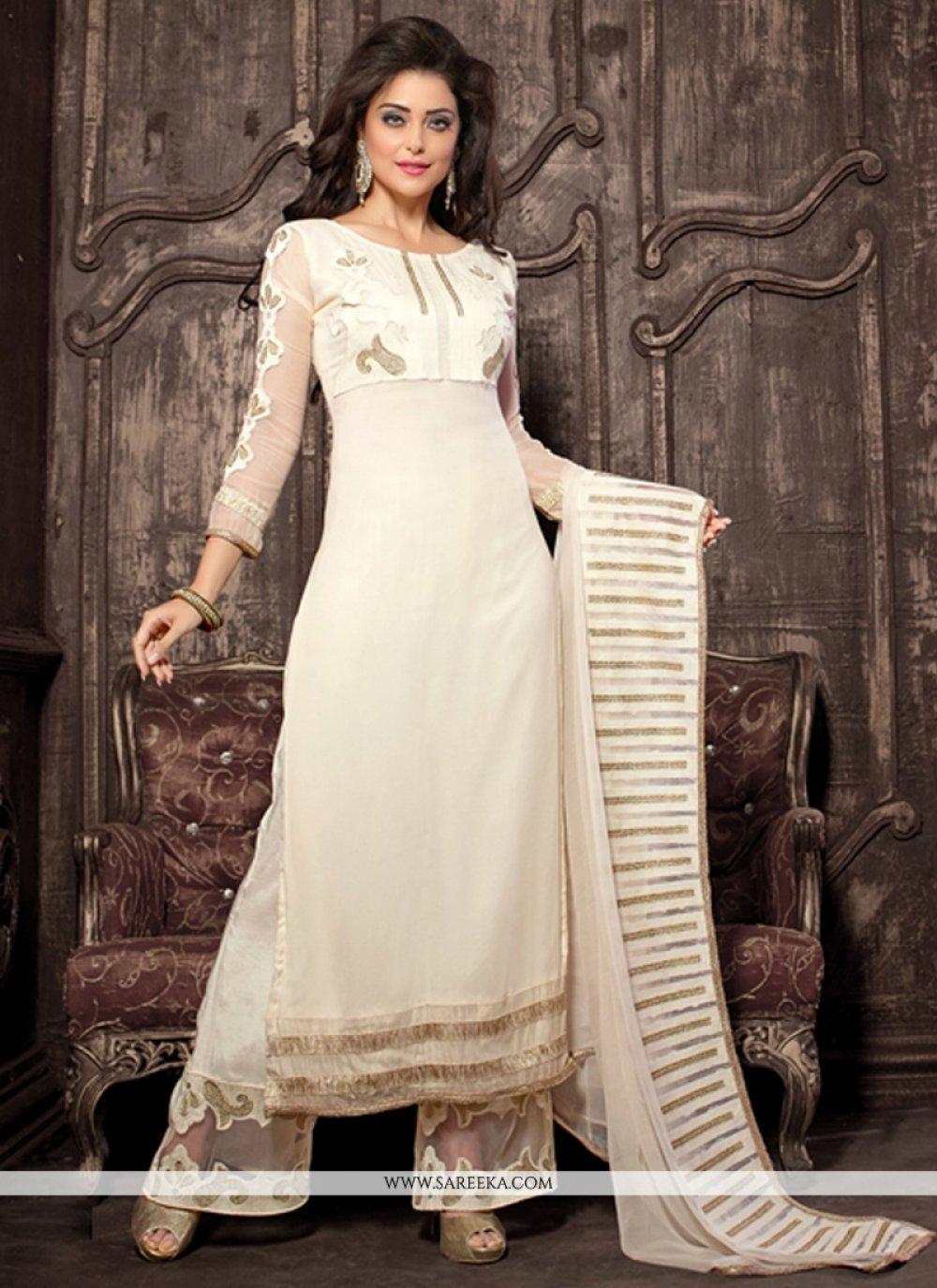 Georgette White Embroidered Work Designer Palazzo Salwar Kameez