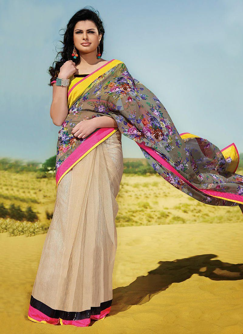 Green And Beige Patch Border Georgette Half And Half Saree