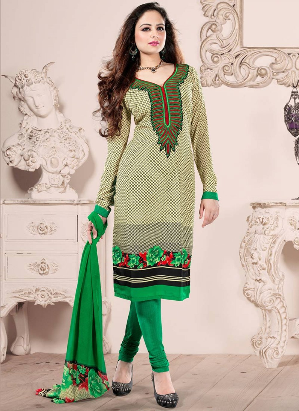 Green And Cream Crepe Churidar Suit