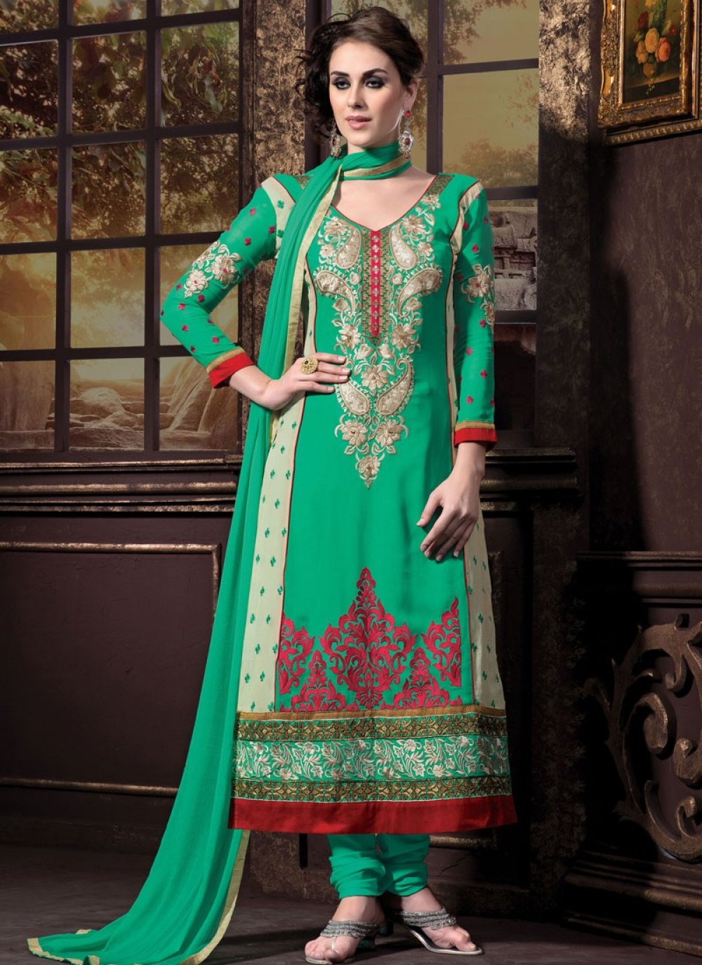 Green And Cream Georgette Churidar Suit