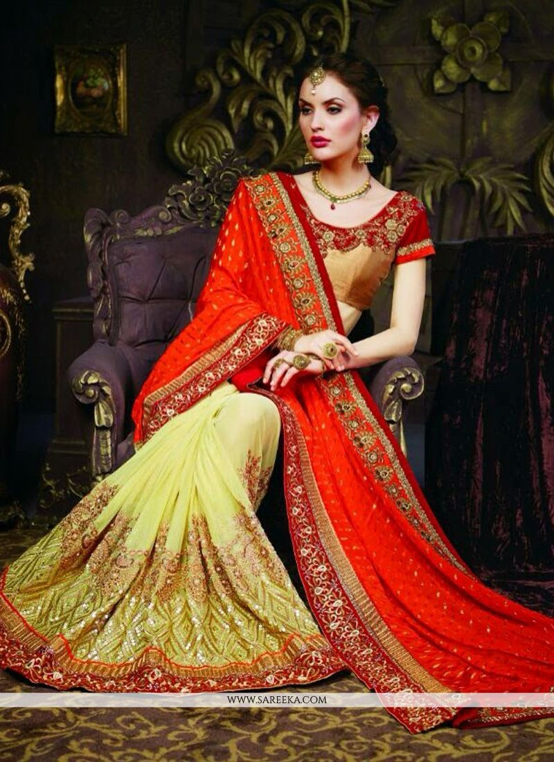 Green And Orange Viscose Designer Saree