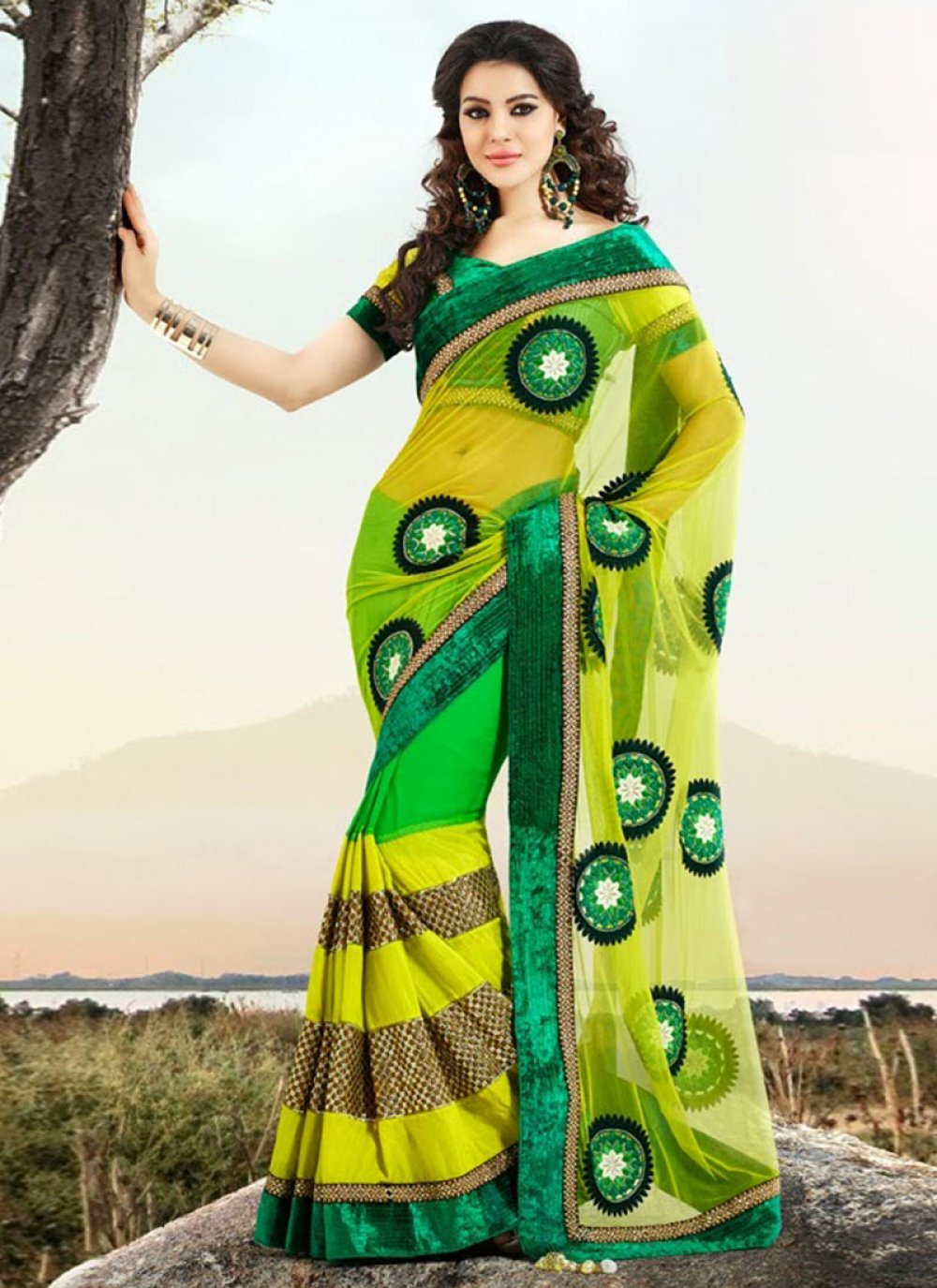 Green And Yellow Georgette Saree