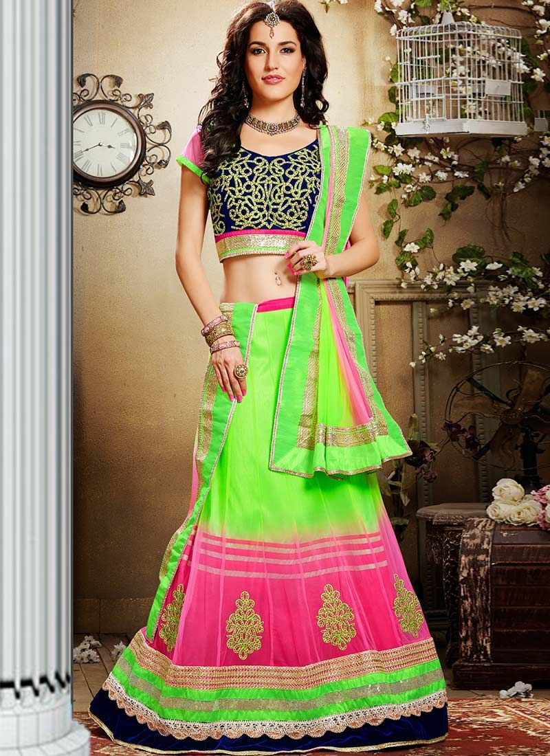 Green Appliques Enhanced Net Lehenga Choli