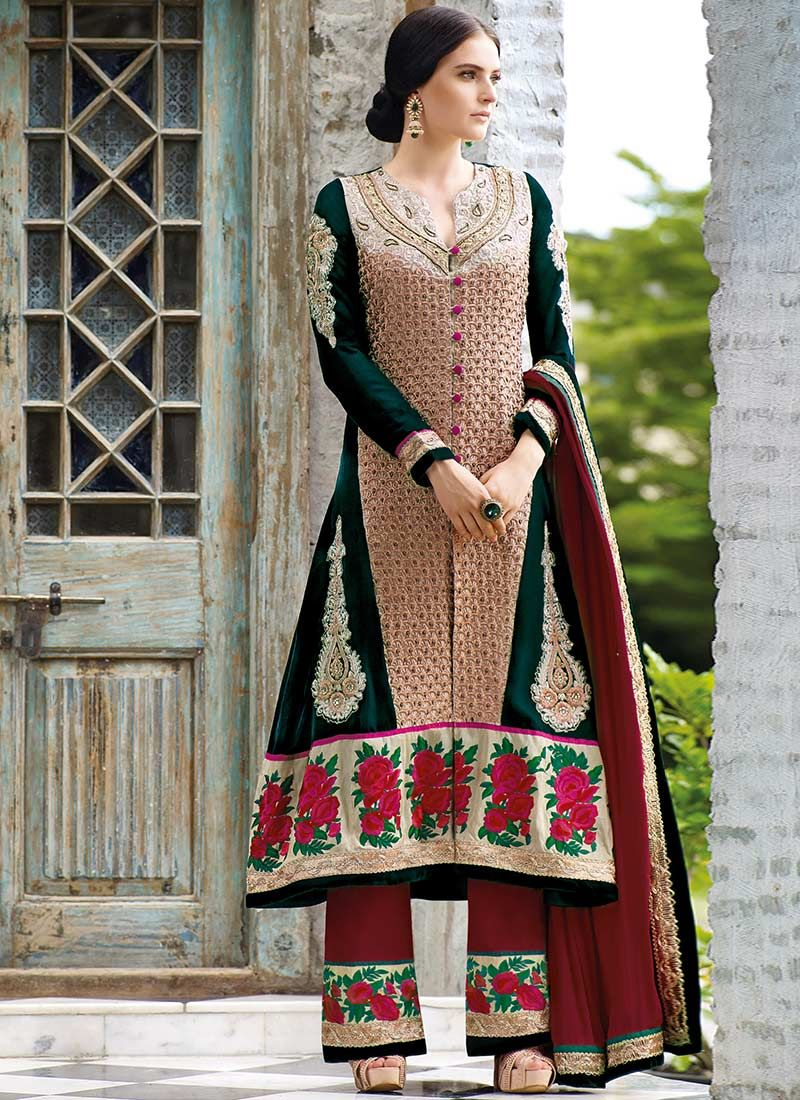 Green Embroidered Velvet Straight Punjabi Suit