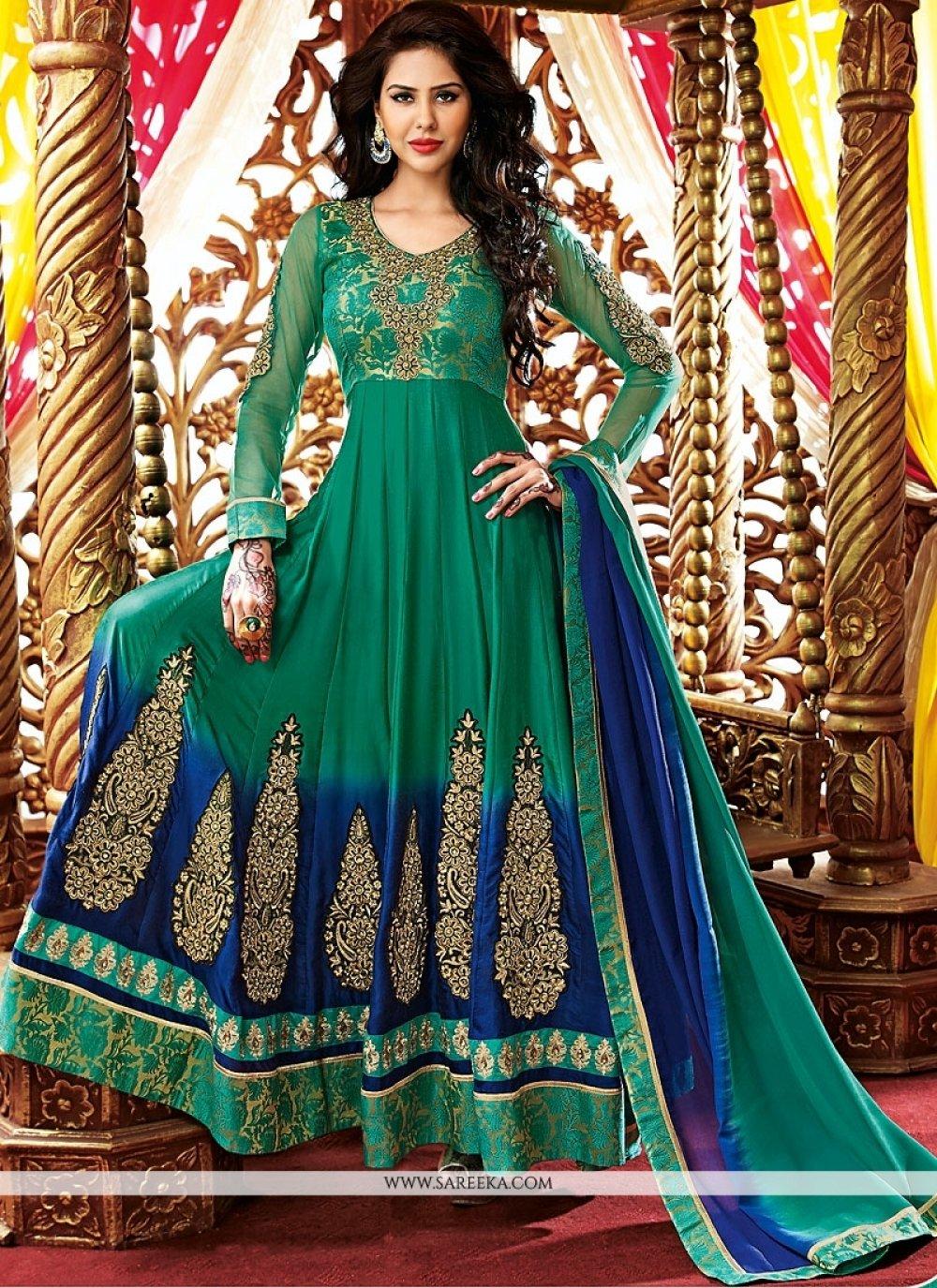 Green Embroidery Work Georgette Anarkali Suit