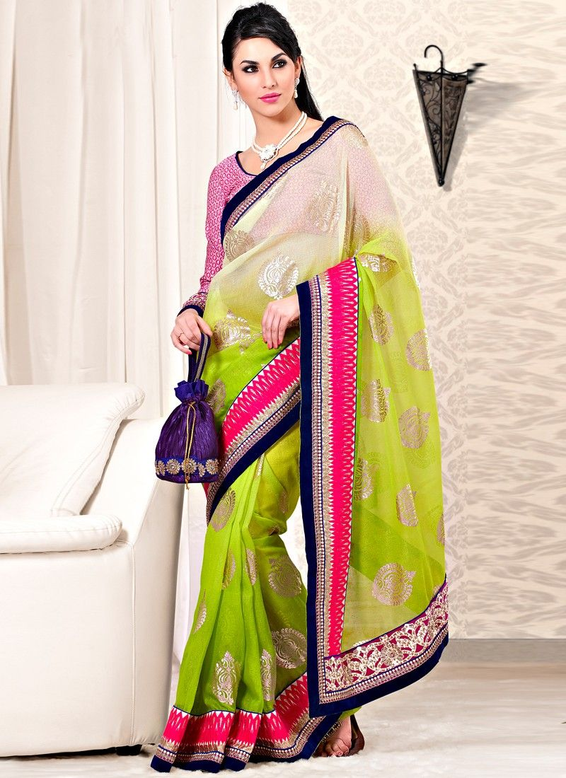 Green Faux Georgette And Velvet Fabric Wedding Saree
