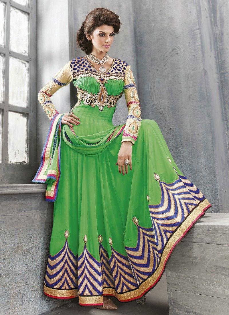 Green Patch Border Work Anarkali Salwar Suit