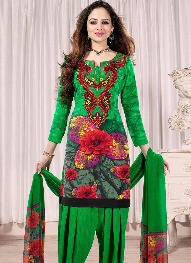 Green Printed Crepe Salwar Suit
