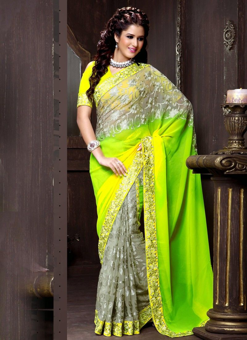 Grey And Green Resham Work Half And Half Saree