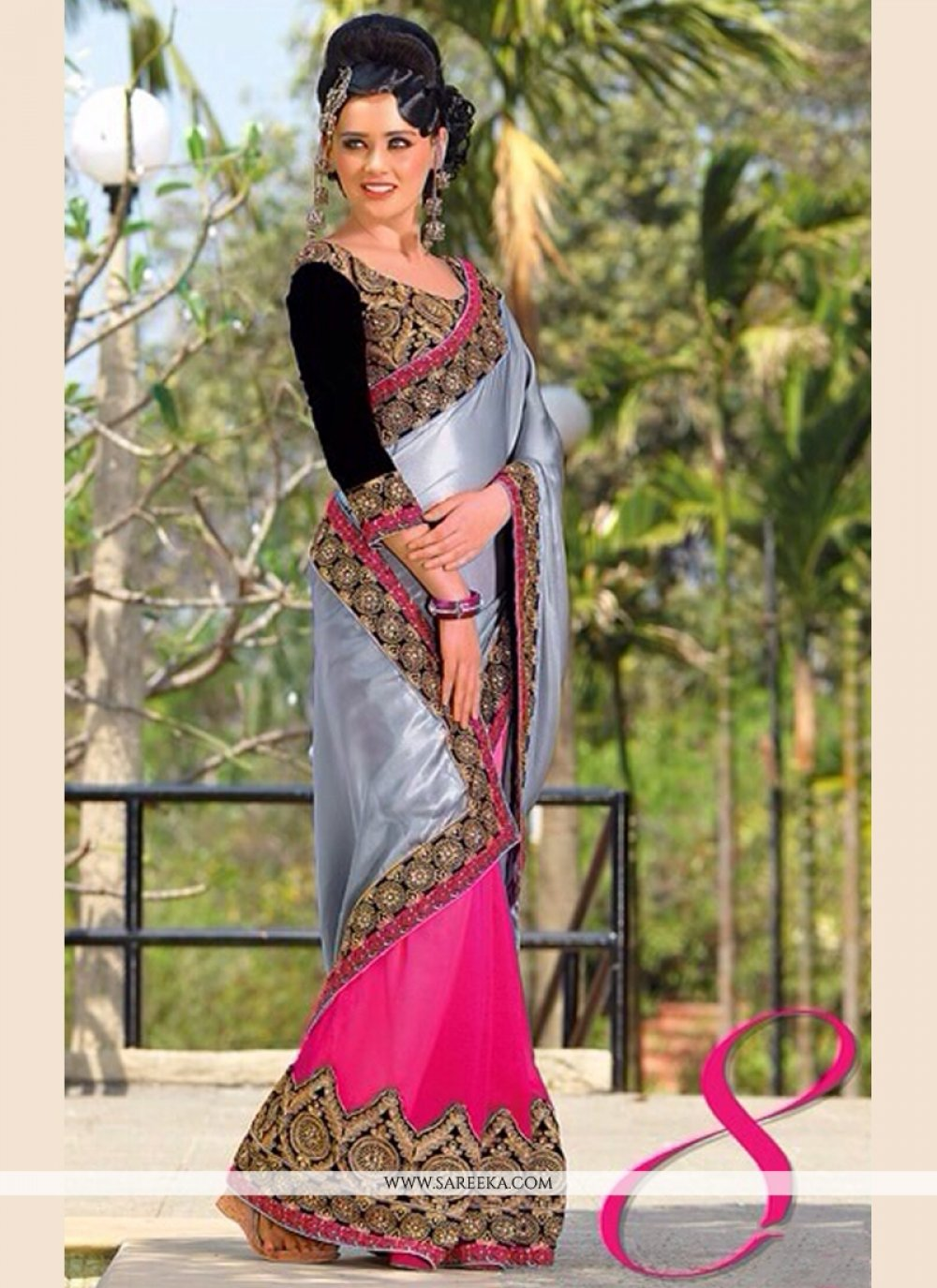 Grey And Pink Georgette Designer Saree