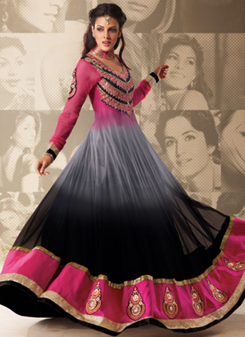 Grey And Pink Resham Work Anarkali Suit