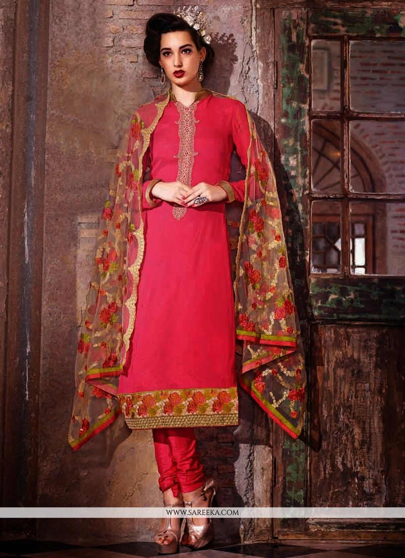 Hot Pink Georgette Churidar Salwar Suit