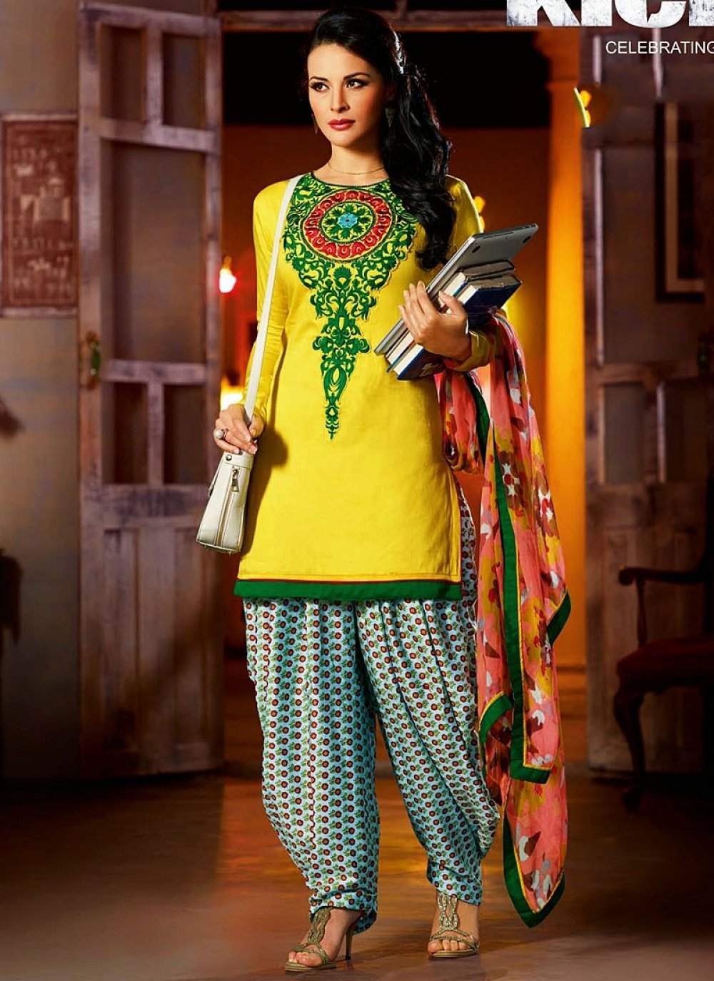 Kick Movie Yellow Embroidered Salwar Kameez