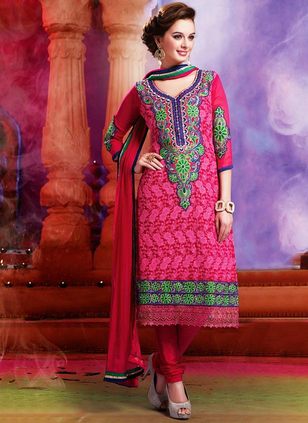Magenta Embroidery Work Churidar Salwar Suit