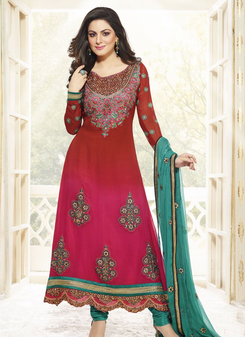 Maroon And Red Embroidery Work Anarkali Suit