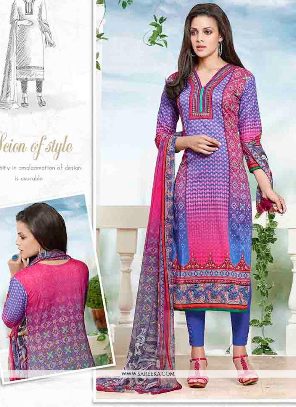 Multi Colour Print Work Churidar Designer Suit