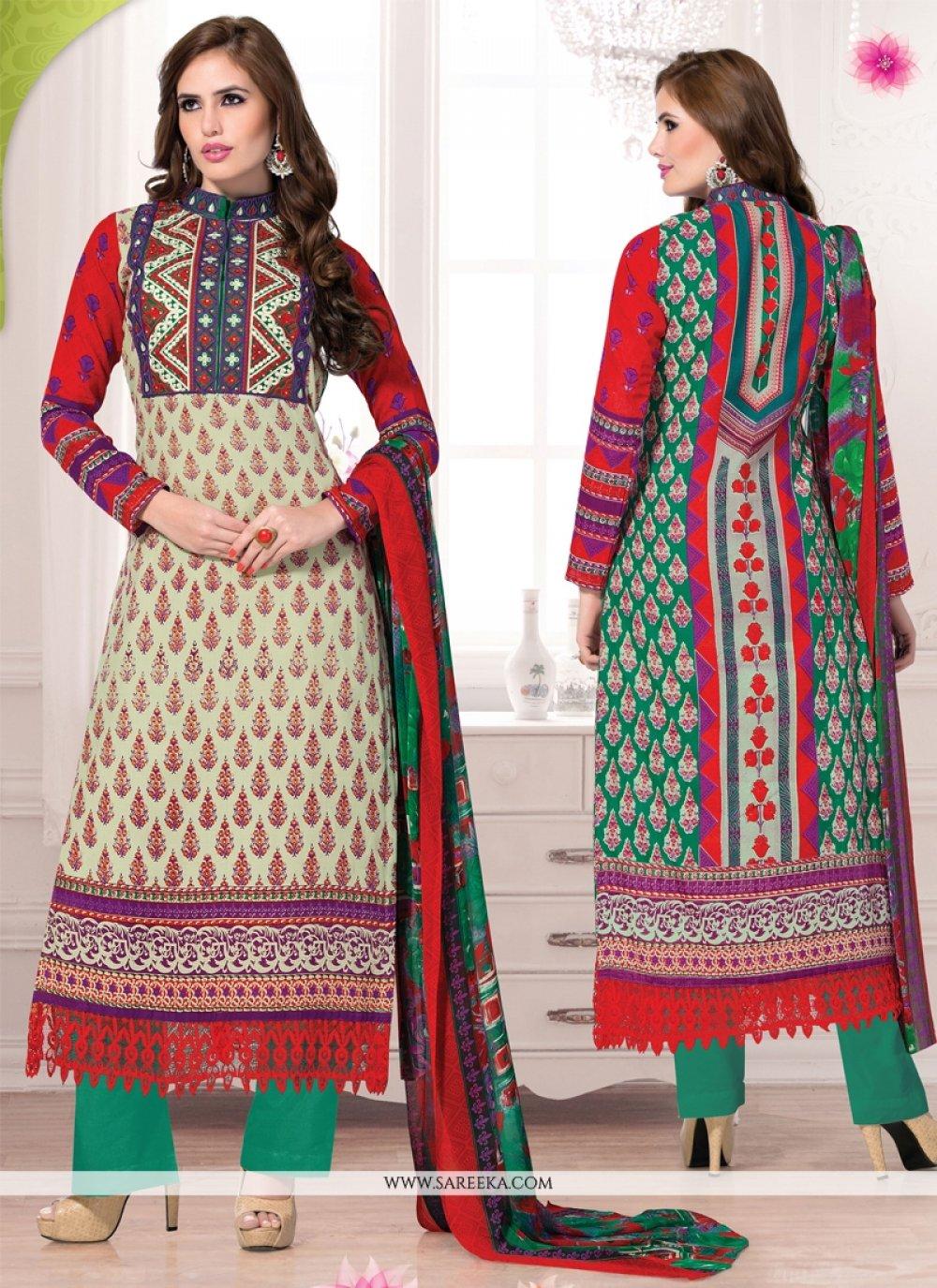 Multicolor Cotton Pant Style Salwar Suit