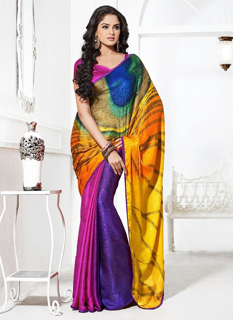 Multicolored Crepe Saree