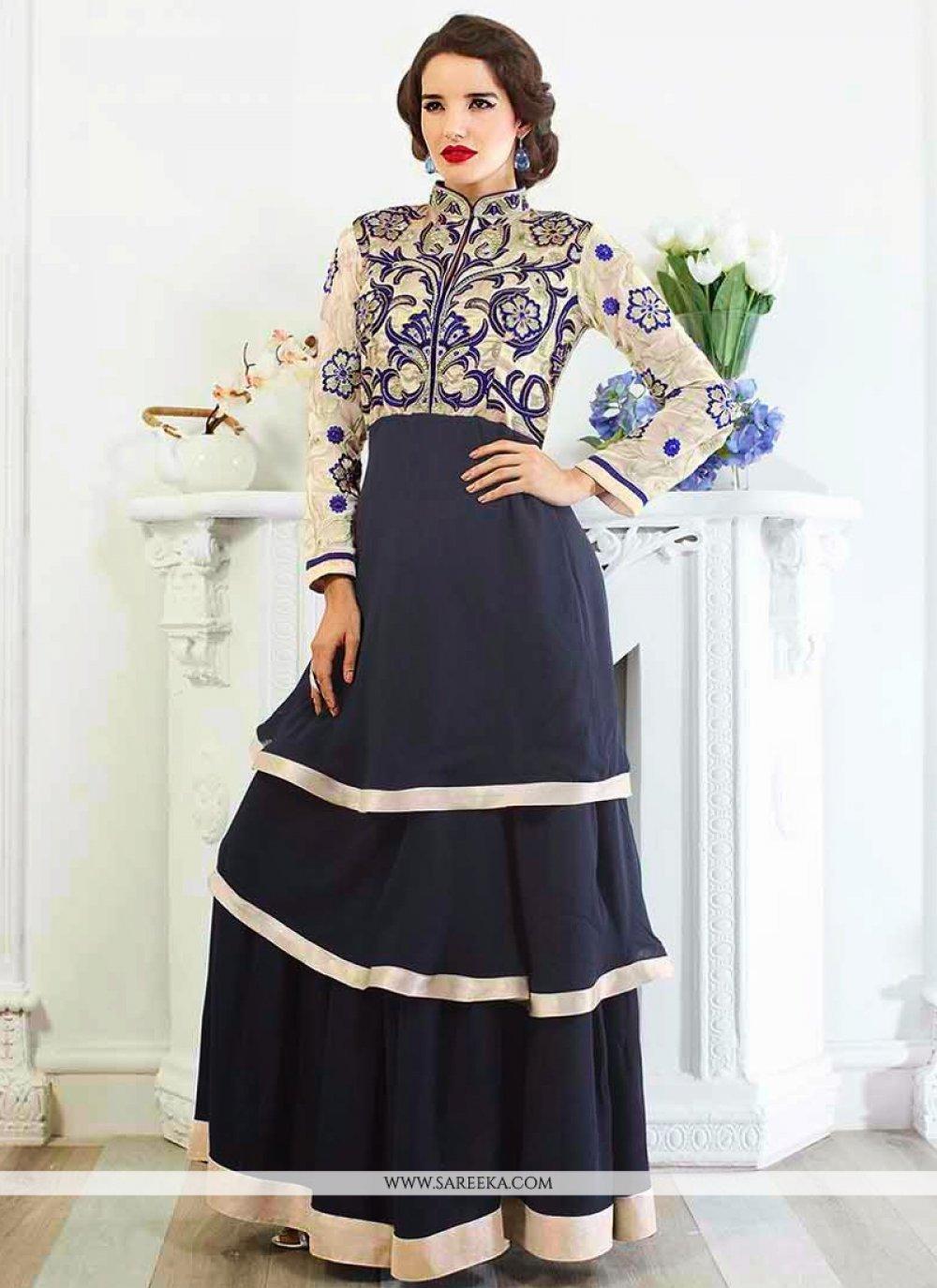 Navy Blue Viscose Georgette Anarkali Suit