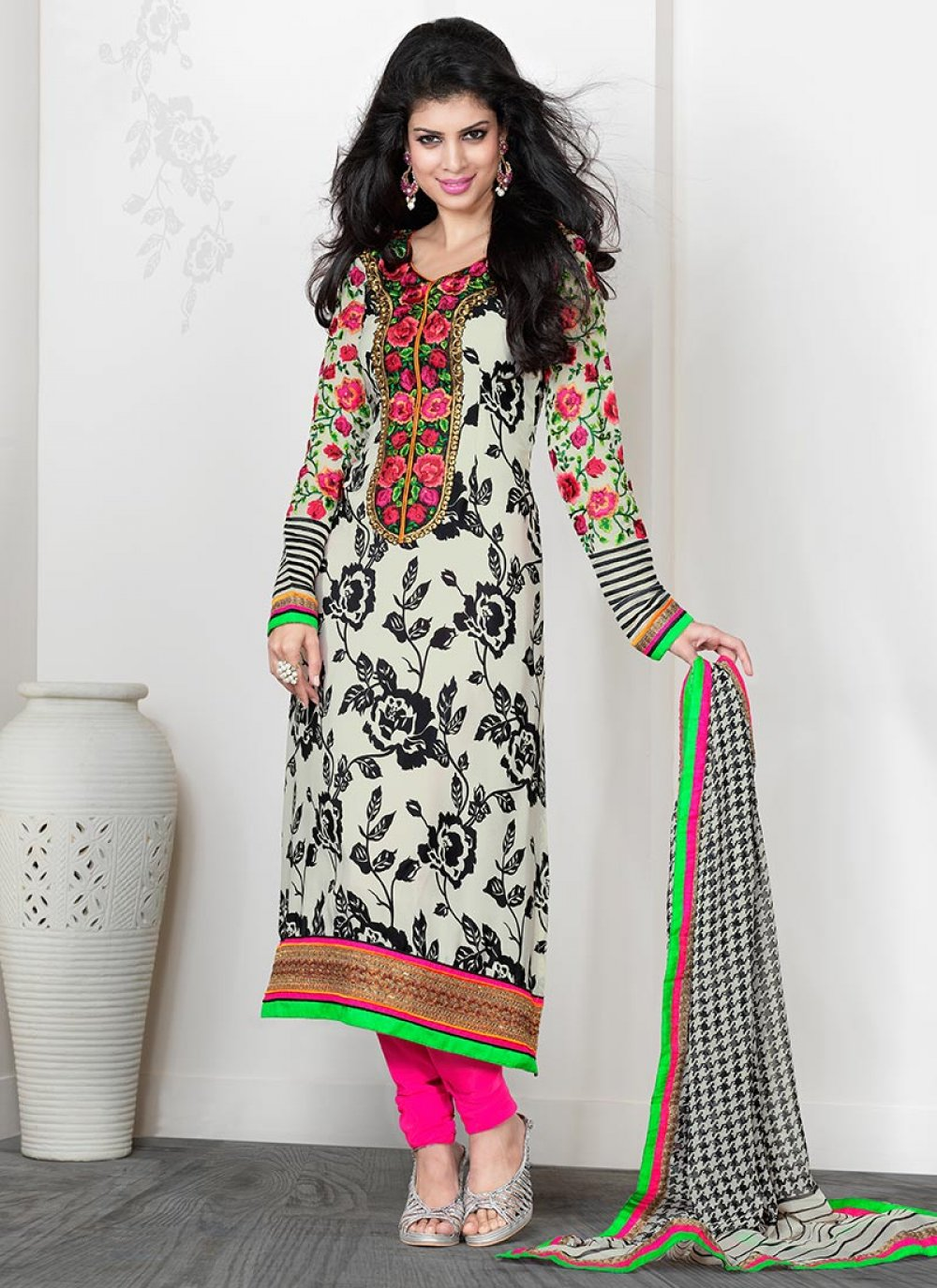 Off White And Black Crepe Churidar Suit