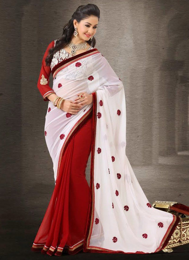 Off White And Red Art Dupion Silk Half And Half Saree